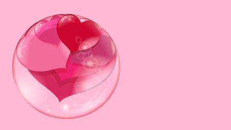 a lot of red hearts inside a transparent ball on a pink background, a soap bubble Stock Photo