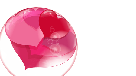 a lot of red hearts inside a transparent ball on a white background, soap bubble