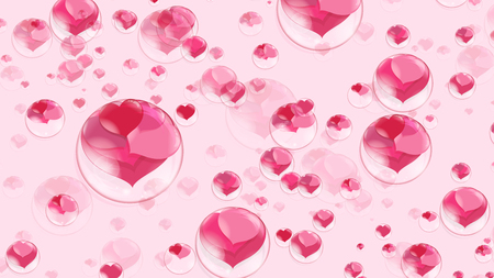 a lot of red hearts inside bubbles on a pink background, soap bubble Stock Photo