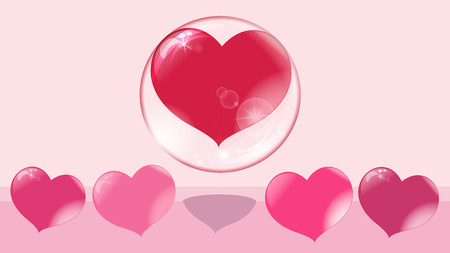 a loving red heart flies up in a bubble, other hearts remain on the ground, a soap bubble