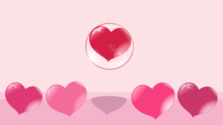 a loving red heart flies up in a bubble, other hearts remain on the ground, a soap bubble Illustration