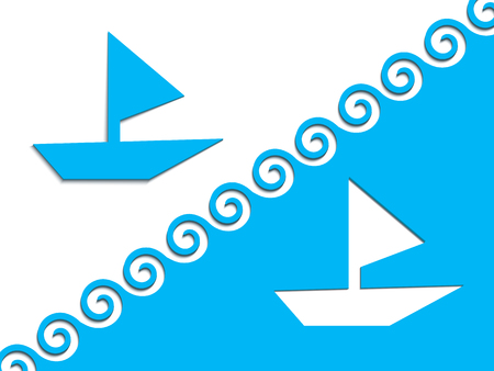 from a blue cardboard a boat with a sail and crests of waves have cut out, have put nearby