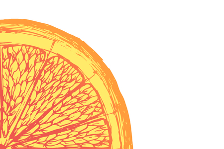 Vector fresh ripe slice of orange on white. Healthy food Illustration