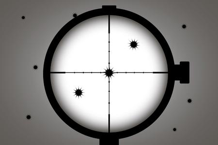 fori di proiettile sul muro bianco, vista attraverso il mirino telescopico