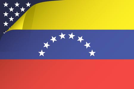 Bandera de Venezuela y Estados Unidos, aparece la silueta