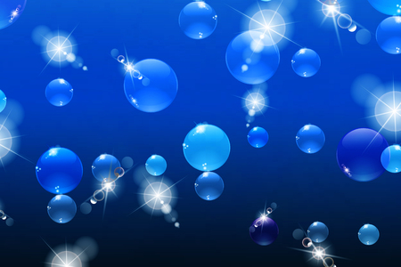 bubbles with reflections on blue background