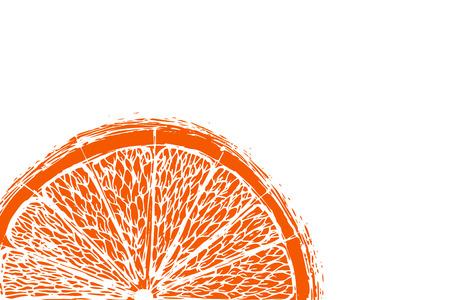 Vector fresh ripe slice of orange on white. Healthy food