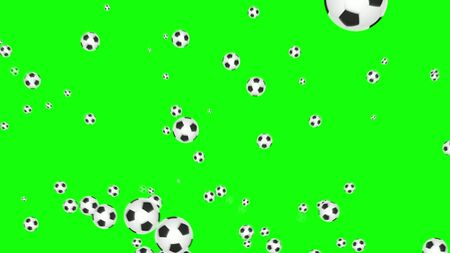 football balls explosion on green background, soccer, isolated