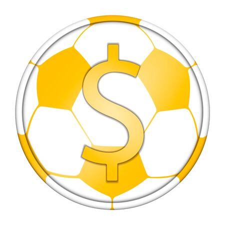 gold coin with the image of a soccer ball, isolate on white background Фото со стока