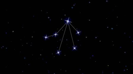 Zodiac constellation Libra, stars on a black background starry sky
