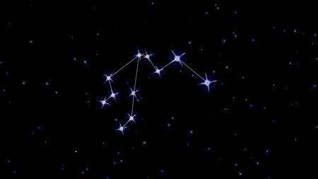 constellation of the zodiac Aquarius, stars on a black background starry sky