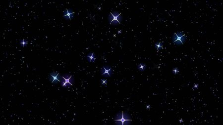 estrellas parpadeantes, cielo estrellado aparecen y desaparecen sobre un fondo negro