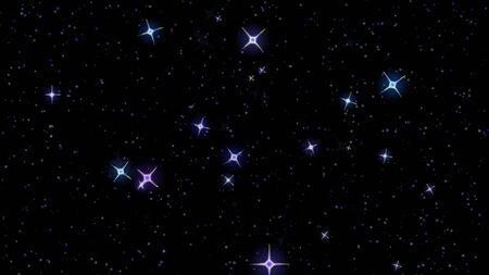 stelle lampeggianti, cielo stellato appaiono e scompaiono su uno sfondo nero