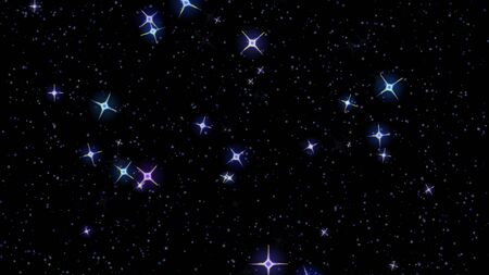 flashing stars, starry sky appear and disappear on a black background Standard-Bild