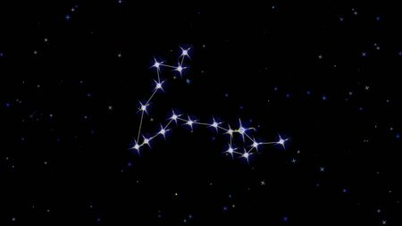 Zodiac constellation Pisces, stars on a black background starry sky Imagens