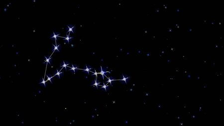 Zodiac constellation Pisces, stars on a black background starry sky Stock fotó
