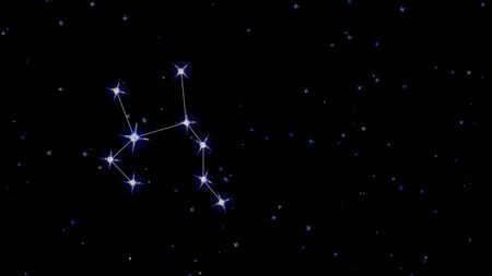 Sagittarius zodiac constellation, stars on a black background starry sky Imagens