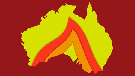 continent Australia on fire, flame on the background of the contour