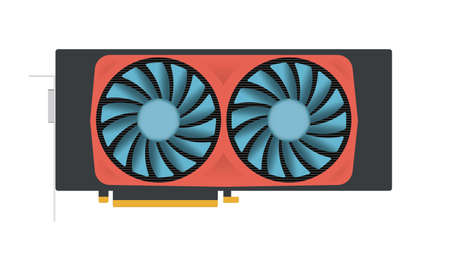 Video graphics card, cartoon illustration
