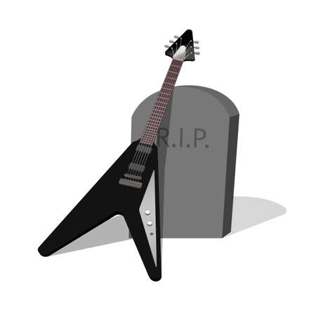 black electric guitar on the tombstone, rest in peace, grief for the deceased guitarist, isolated