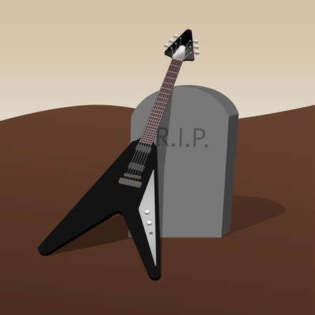 black electric guitar on the tombstone, rest in peace, grief for the deceased guitarist