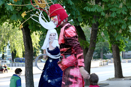 pantomima: Street performance entertains visitors in the park. Gabrovo, Bulgaria 19 May 2017