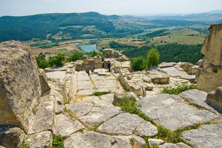 The ancient Thracian city of Perperikon is located in the Eastern Rhodopes, Bulgaria