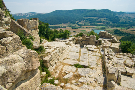 The ancient Thracian city of Perperikon is located in the Eastern Rhodopes, Bulgaria Stock Photo - 84409600