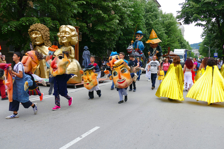 Gabrovo, Bulgaria May 19, 2018. Traditional Carnival of Humor and Satire. Street art. A march of humorous models, masks and costumes. Redakční