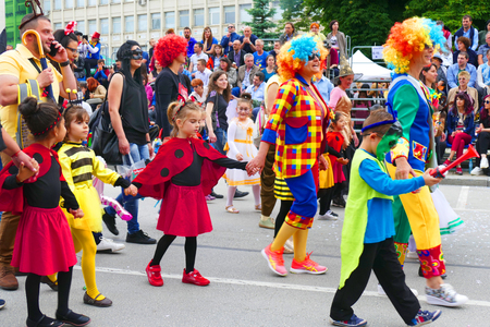 Gabrovo, Bulgaria May 19, 2018. Traditional Carnival of Humor and Satire. Street art. A group of children from kindergarten pass the carnival with their teachers.. Redakční