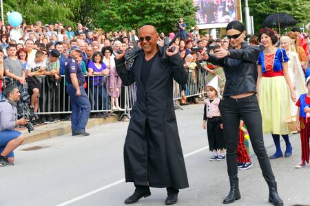 Gabrovo, Bulgaria May 19, 2018. Traditional Carnival of Humor and Satire. The Vice Premier of Bulgaria Tomislav Donchev and his wife Svetlana as Morpheus and Trinetri from the film The Matrix.