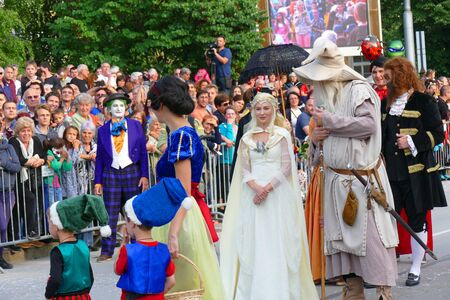 Gabrovo, Bulgaria May 19, 2018. Traditional Carnival of Humor and Satire. Mayor of Gabrovo, Mrs. Tanya Hristova, as Galadriel, from the movie The Lord of the Rings.