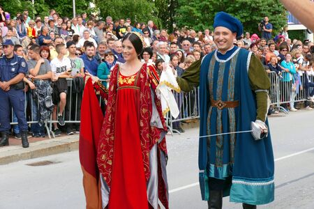 Gabrovo, Bulgaria May 19, 2018. Traditional Carnival of Humor and Satire. Participants in the carnival - fairy-tale characters.