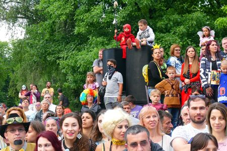 Gabrovo, Bulgaria May 19 2018.Traditional Carnival of Humor and Satire. Street art. Different audience on the show.