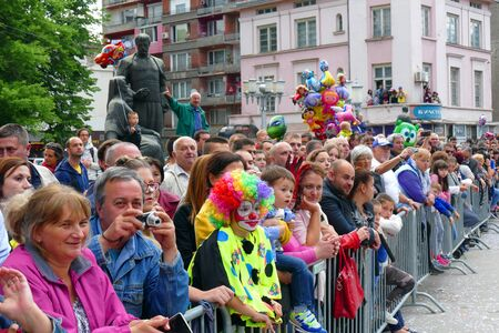 Gabrovo, Bulgaria May 19 2018.Traditional Carnival of Humor and Satire. Street art. Different audience on the show. Reklamní fotografie - 139324297