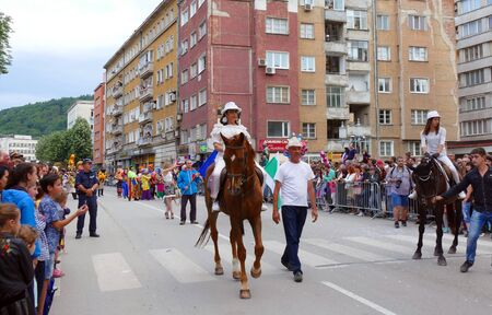 Gabrovo, Bulgaria May 19, 2018. Traditional Carnival of Humor and Satire. Street art. Participation of horses in the carnival.