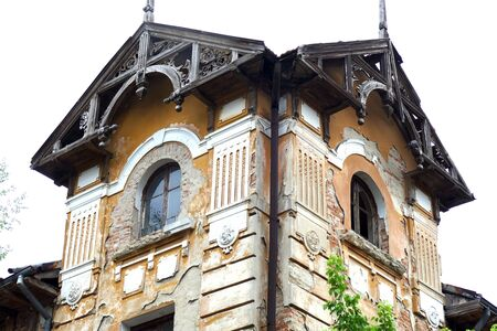 Tryavna Bulgaria June 26, 2018 Many buildings with precious old architecture are ruined. An old ruinous building. Modern architecture from the early 20th century. Redakční