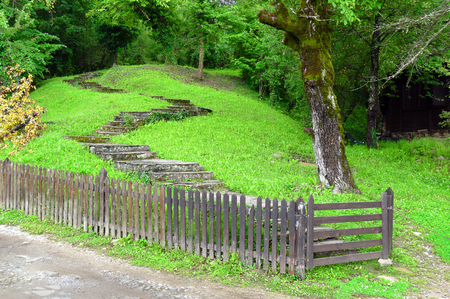 Stone stairs, meadow and fence of a farmhouse.