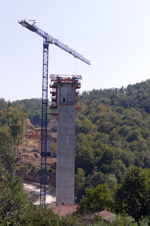 High-rise building. Bridge-based construction for motorway tower. Stok Fotoğraf