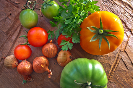 Fresh Autumn Vegetables. Tomatoes, onion and parsley. Stok Fotoğraf