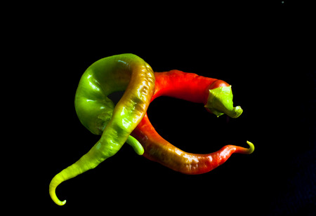 Fresh peppers of different shapes and colors. Stok Fotoğraf