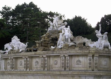 Neptune Fountain in the Great Parterre of the Schonbrunn Palace