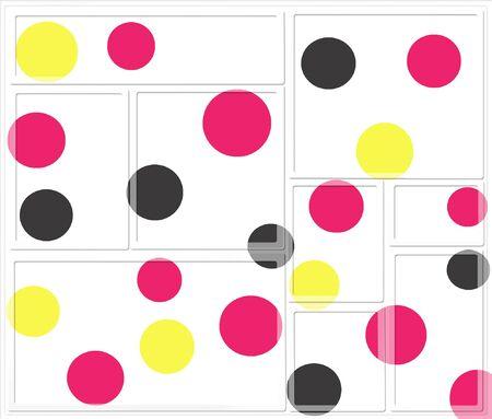 Gele, zwarte en rode stippen in de compositie met rechthoeken