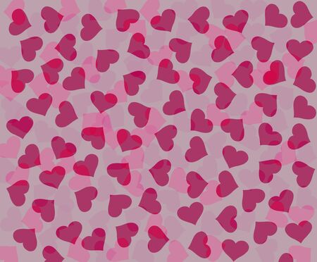 Background with dispersed pink and red hearts Illustration