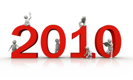 People building year 2010, 3d render Stock Photo - 6375514
