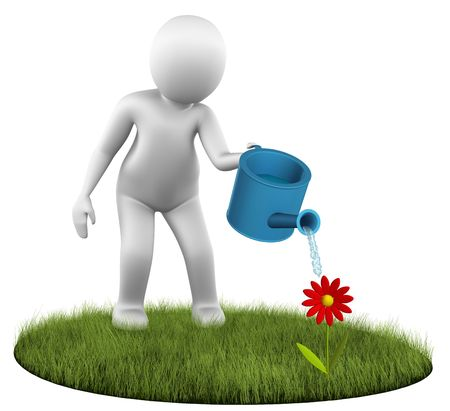 Man watering a flower Stock Photo