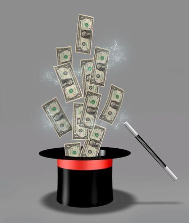 sombrero de mago:  Dinero volando fuera del sombrero m�gico