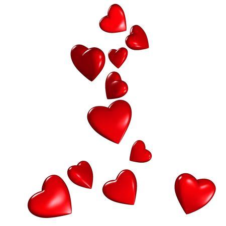 Hearts falling Stock Photo