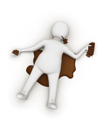 overdosering: Chocolade overdosis Stockfoto