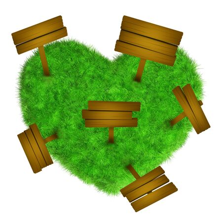 Grass heart with wooden signs Stock Photo
